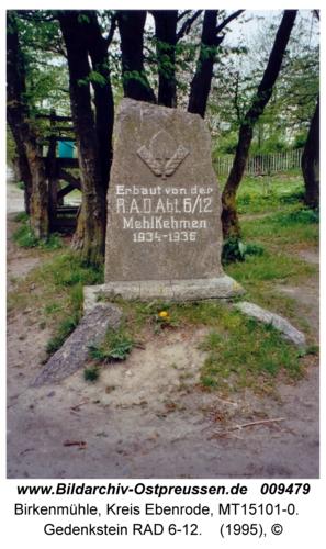 Birkenmühle, Gedenkstein RAD 6-12