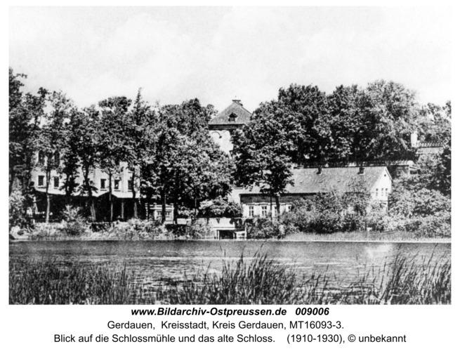 Gerdauen, Blick auf die Schloßmühle und das alte Schloß