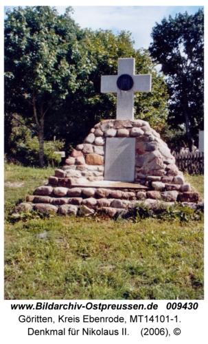 Göritten, Denkmal für Nikolaus II
