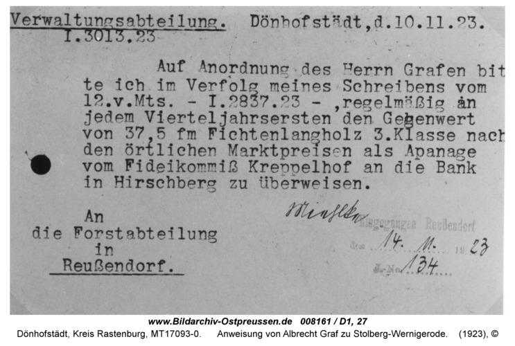 Dönhofstädt, Schloß, Anweisung von Albrecht Graf zu Stolberg-Wernigerode