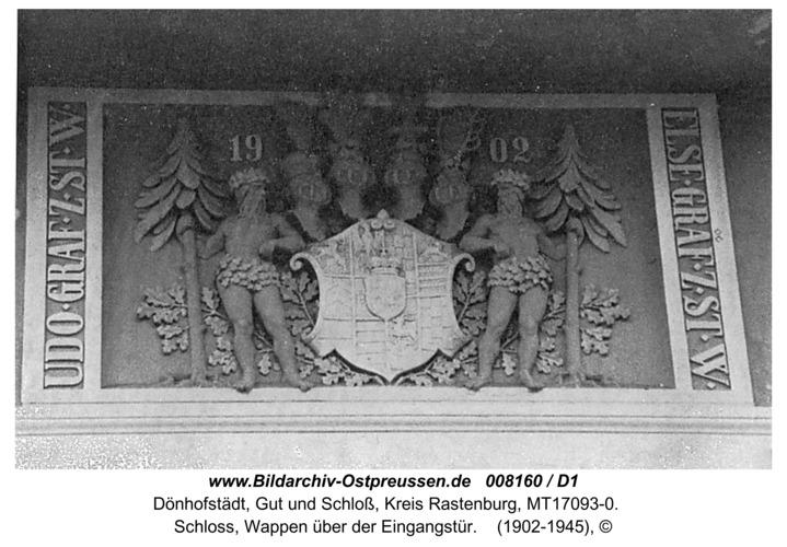 Dönhofstädt, Schloss, Wappen über der Eingangstür