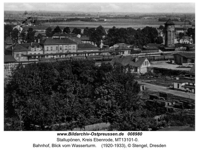Stallupönen, Bahnhof vom Wasserturm