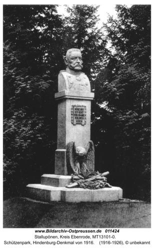 Ebenrode, Schützenpark, Hindenburg-Denkmal von 1916
