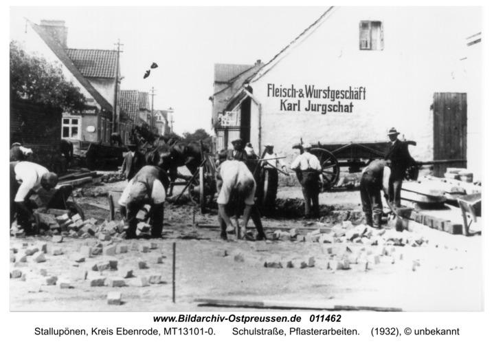 Stallupönen, Schulstraße, Pflasterarbeiten