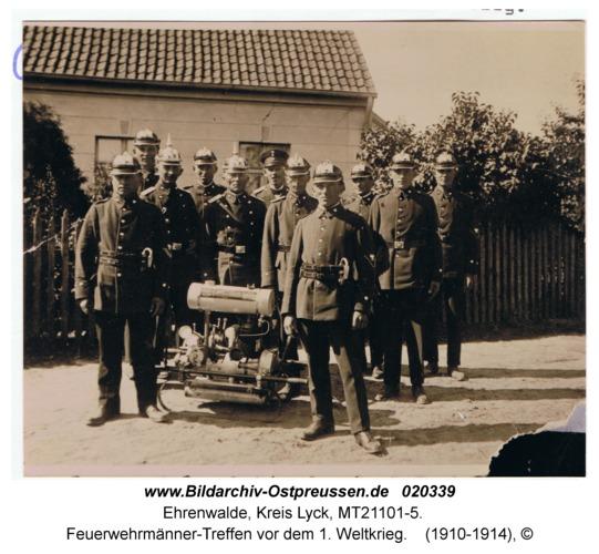 Ehrenwalde, Feuerwehrmänner-Treffen vor dem 1. Weltkrieg