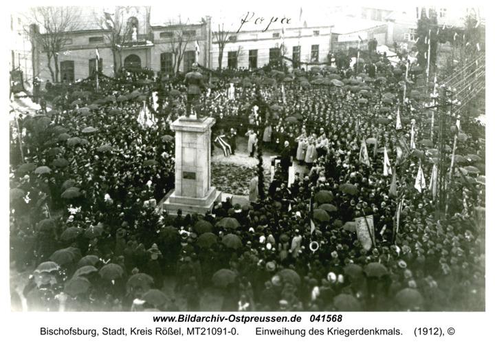 Bischofsburg, Einweihung des Kriegerdenkmals