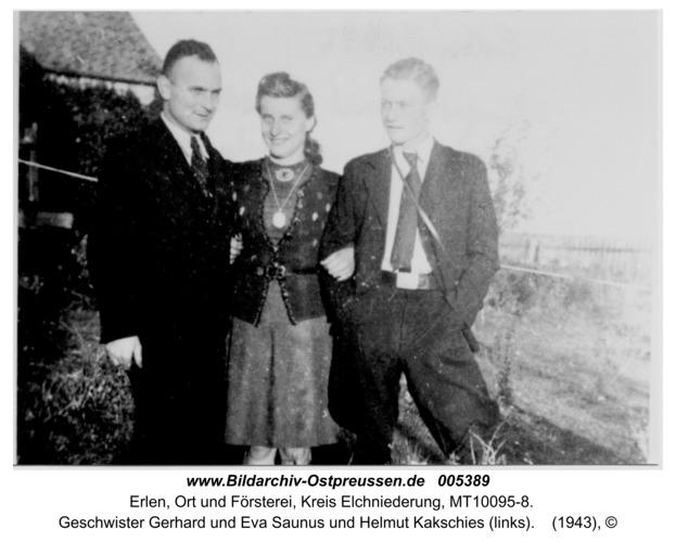 Erlen, Geschwister Gerhard und Eva Saunus und Helmut Kakschies (links)