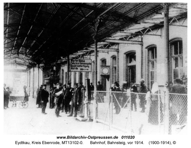 Eydtkau, Bahnhof, Bahnsteig, vor 1914