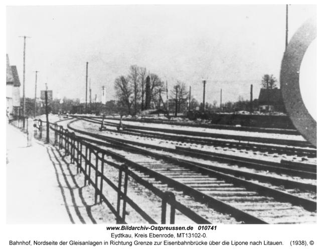 Eydtkau, Bahnhof, Nordseite der Gleisanlagen in Richtung Grenze zur Eisenbahnbrücke über die Lipone nach Litauen