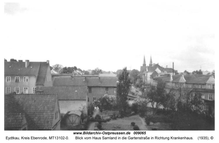 Eydtkau, Blick vom Haus Samland in die Gartenstraße in Richtung Krankenhaus