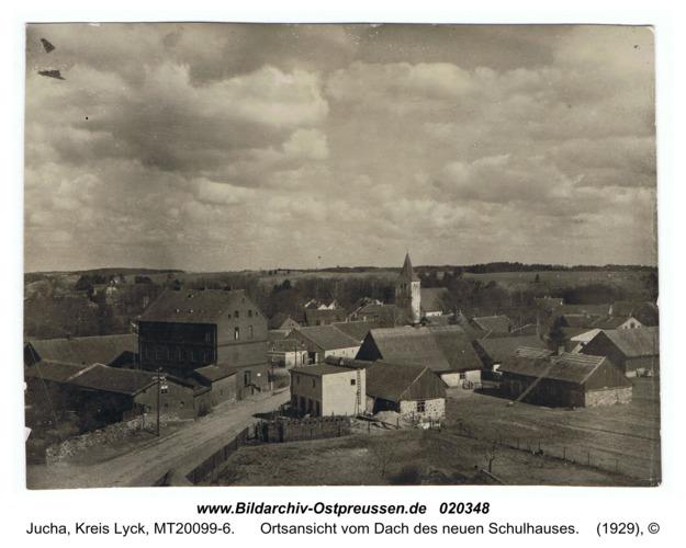 Fließdorf, Ortsansicht vom Dach des neuen Schulhauses