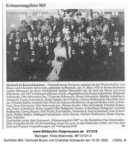 Baringen, Suchfoto 965, Hochzeit Bruno und Charlotte Schwarzin am 15.03.1929