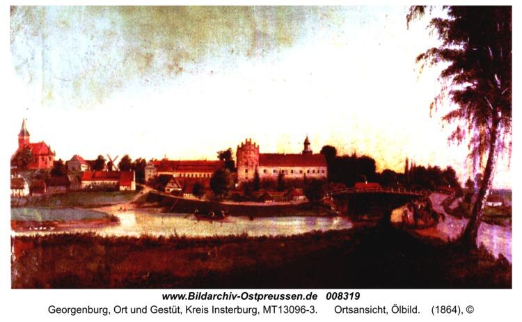 Georgenburg, Ortsansicht, Ölbild