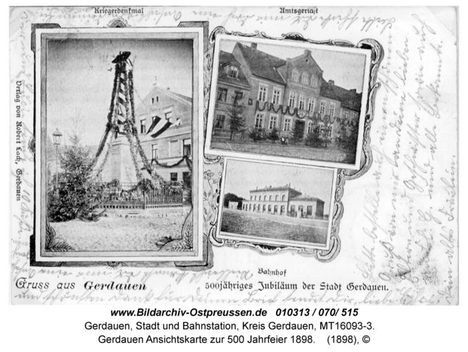 Gerdauen Ansichtskarte zur 500 Jahrfeier 1898