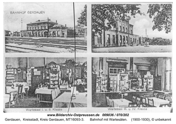 Gerdauen, Ansichtskarte Bahnhof mit Wartesälen