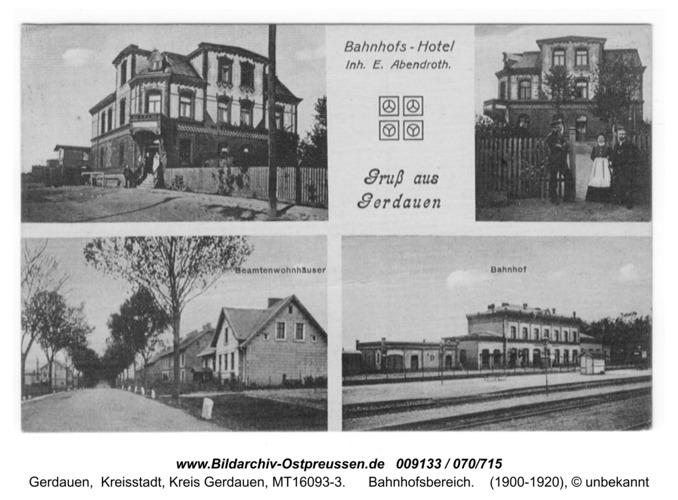 Gerdauen, Ansichtskarte Bahnhofsbereich