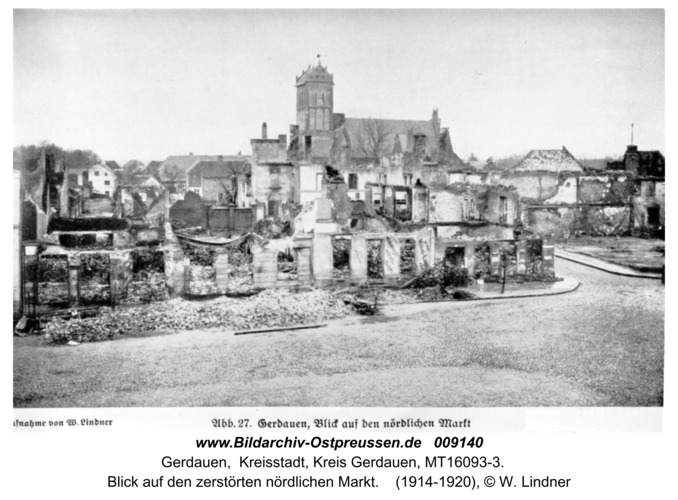 Gerdauen, Ansichtskarte, Blick auf den zerstörten nördlichen Markt