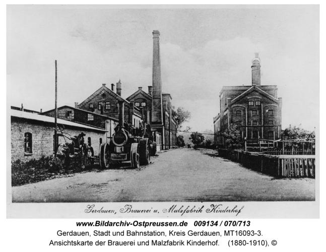 Gerdauen, Ansichtskarte der Brauerei und Malzfabrik Kinderhof