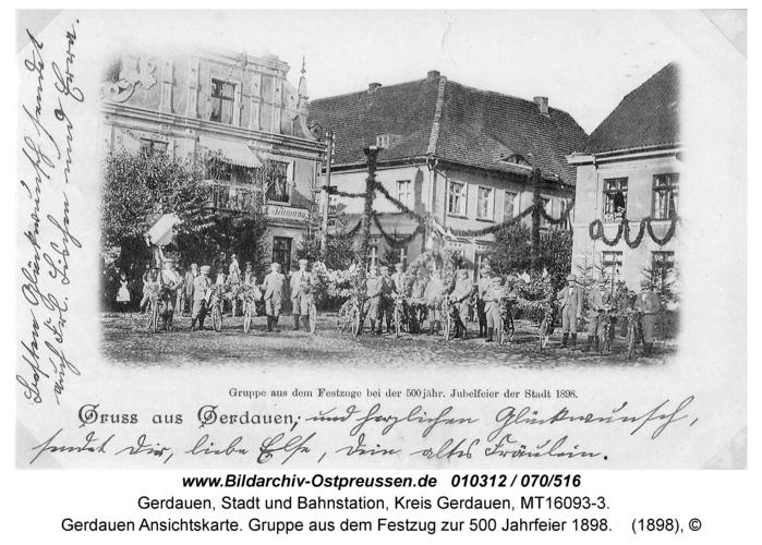 Gerdauen Ansichtskarte. Gruppe aus dem Festzug zur 500 Jahrfeier 1898
