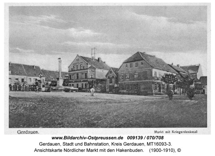 Gerdauen, Ansichtskarte Nördlicher Markt mit den Hakenbuden