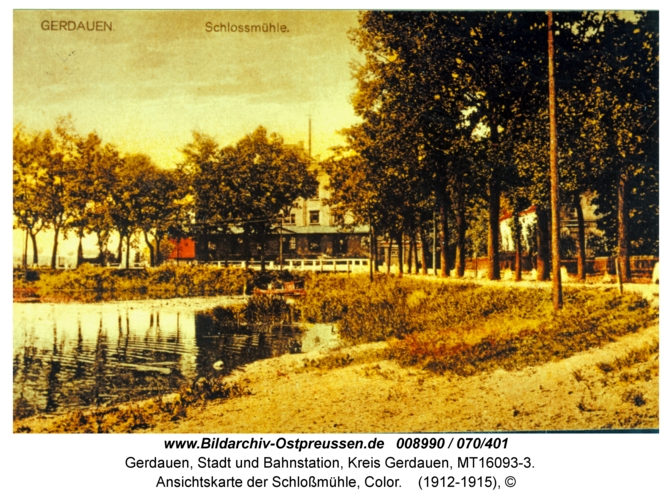 Gerdauen, Ansichtskarte der Schloßmühle, Color
