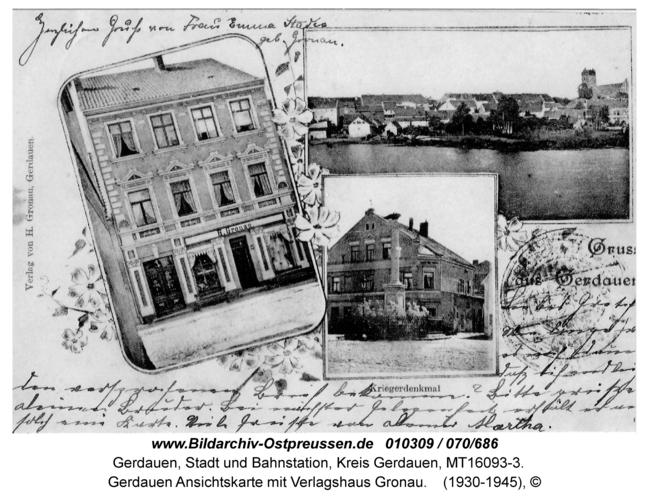 Gerdauen Ansichtskarte mit Verlagshaus Gronau
