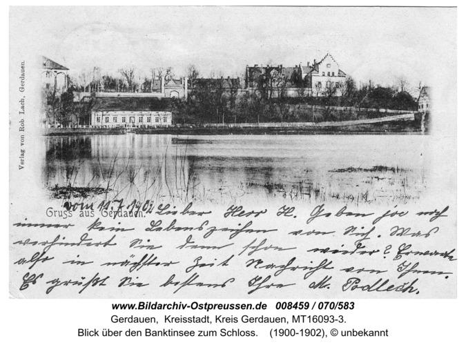 Gerdauen, Blick über den Banktinsee zum Schloß ( Ansichtskarte von 1902 )