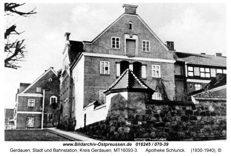 Gerdauen, Apotheke Schlunck