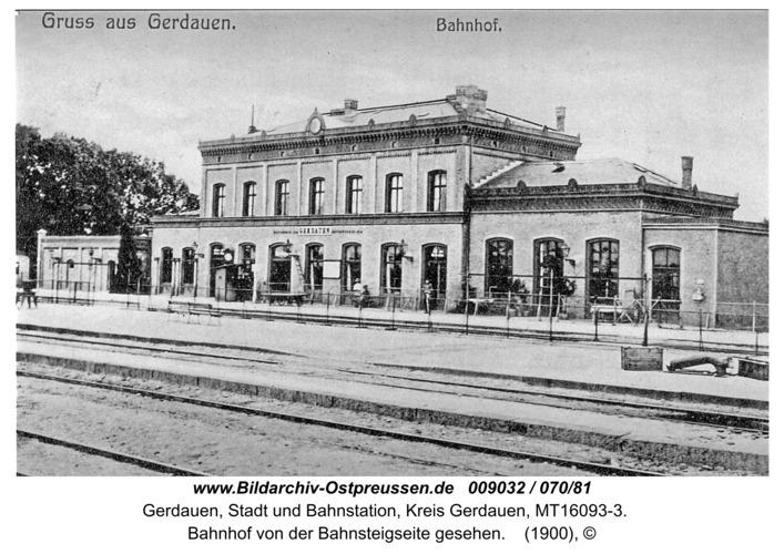 Gerdauen, Bahnhof von der Bahnsteigseite gesehen