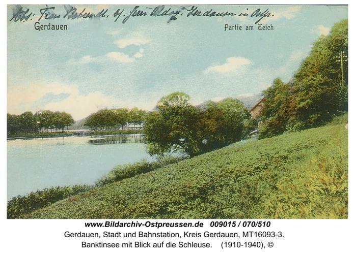 Gerdauen, Banktinsee mit Blick auf die Schleuse