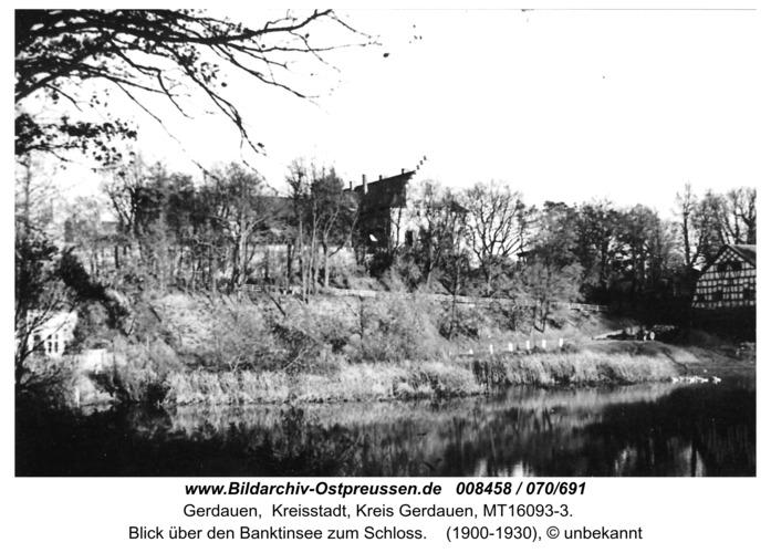 Gerdauen, Blick über den Banktinsee zum Schloß