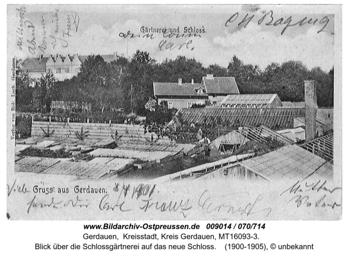Gerdauen, Blick über die Schloßgärtnerei auf das neue Schloß