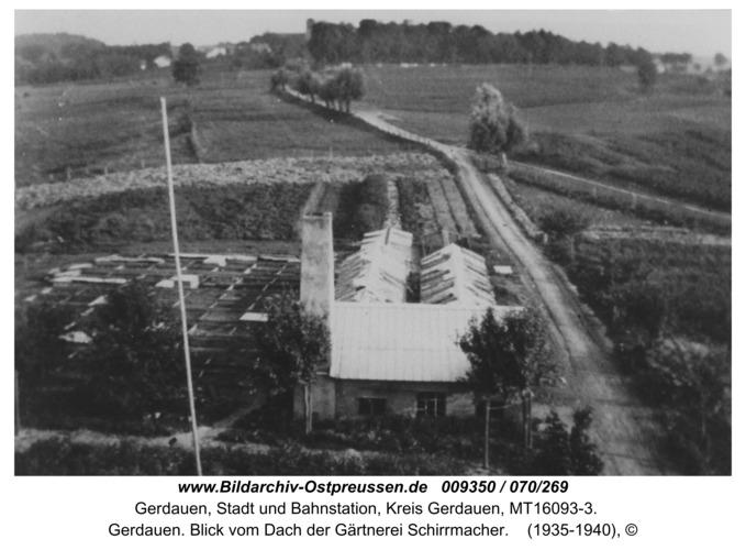 Gerdauen. Blick vom Dach der Gärtnerei Schirrmacher