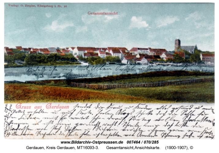 Gerdauen, Gesamtansicht, Ansichtskarte