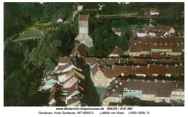 Gerdauen, Luftbild von West