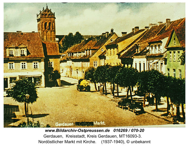 Gerdauen, Nord-östlicher Markt mit Kirche color