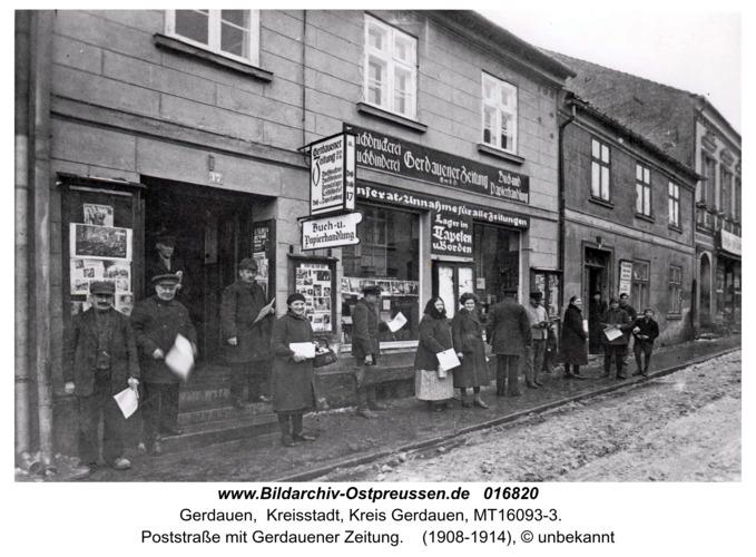 Gerdauen, Poststraße mit Gerdauener Zeitung
