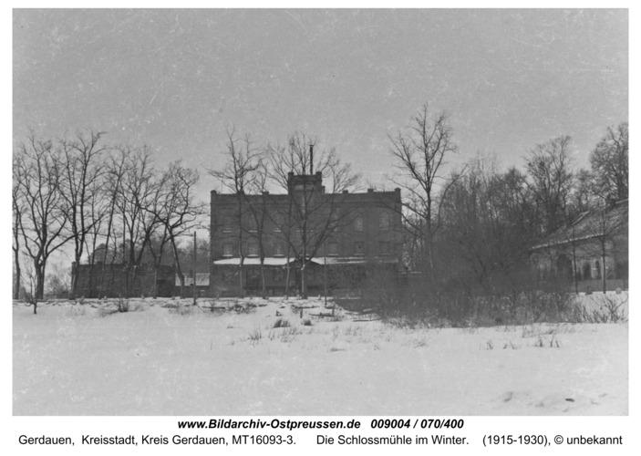 Gerdauen, die Schloßmühle im Winter