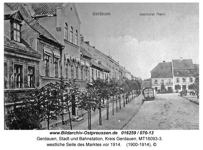 Gerdauen, westliche Seite des Marktes vor 1914