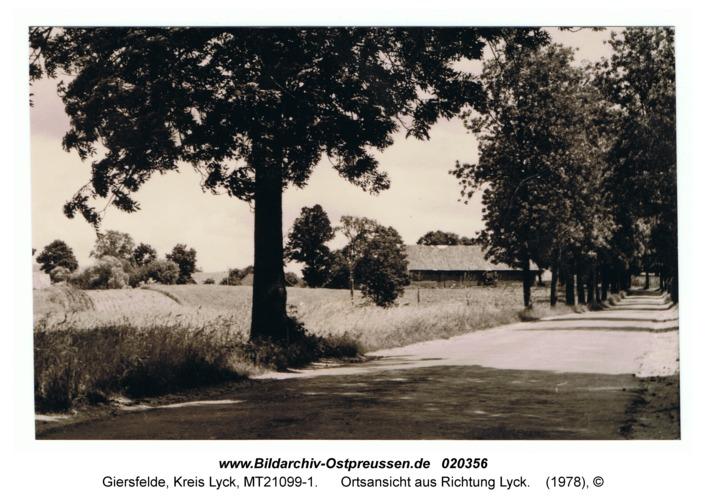 Giersfelde, Ortsansicht aus Richtung Lyck