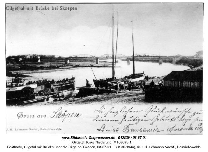Gilgetal 01, Postkarte, Gilgetal mit Brücke über die Gilge bei Sköpen, 08-57-01