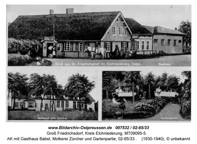 Groß Friedrichsdorf, AK mit Gasthaus Babst, Molkerei Zürcher und Gartenpartie, 02-65/33
