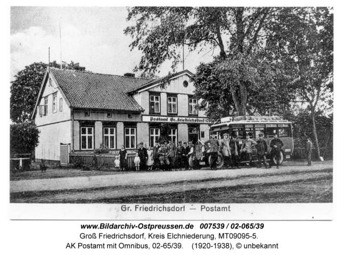 Groß Friedrichsdorf, AK Postamt mit Omnibus, 02-65/39