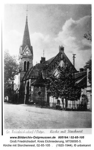 Groß Friedrichsdorf, Kirche mit Storchennest, 02-65-105