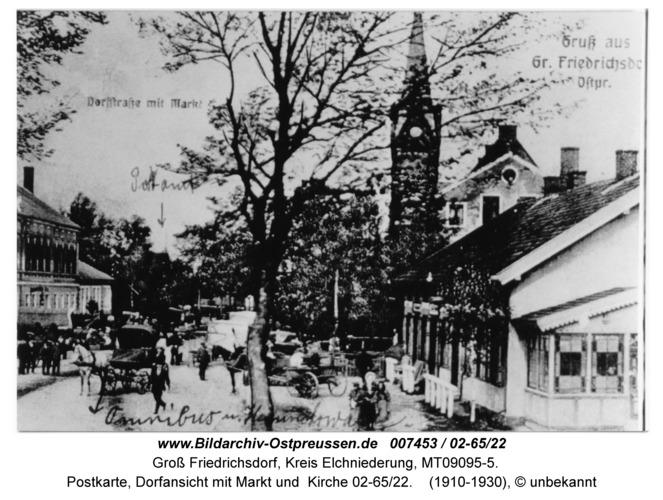 Groß Friedrichsdorf, Postkarte, Dorfansicht mit Markt und Kirche 02-65/22