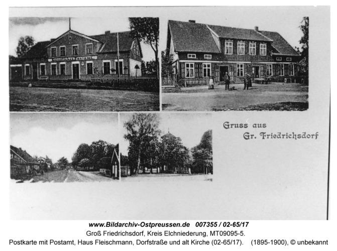 Groß Friedrichsdorf, Postkarte mit Postamt, Haus Fleischmann, Dorfstraße und alt Kirche (02-65/17)