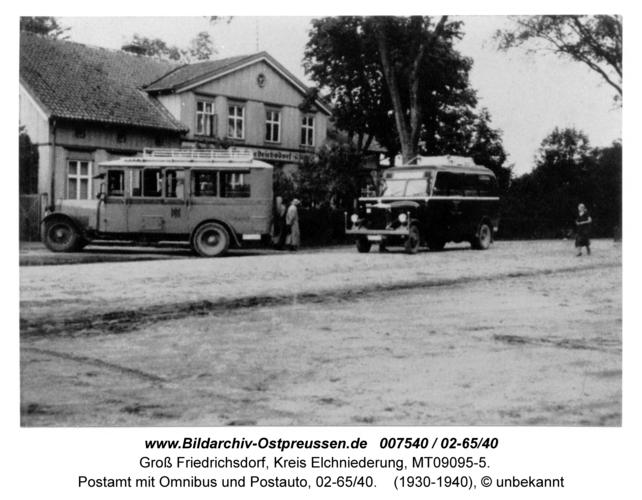 Groß Friedrichsdorf, Postamt mit Omnibus und Postauto, 02-65/40