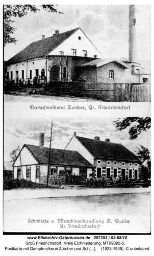 Groß Friedrichsdorf, Postkarte mit Dampfmolkerei Zürcher und Schmiede Buske (02-65/15)