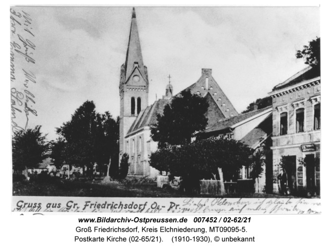 Groß Friedrichsdorf, Postkarte Kirche (02-65/21)