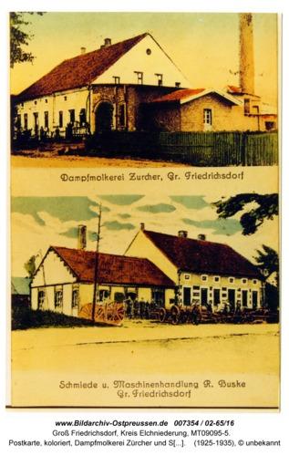 Groß Friedrichsdorf, Postkarte, koloriert, Dampfmolkerei Zürcher und Schmiede Buske (02-65/16)